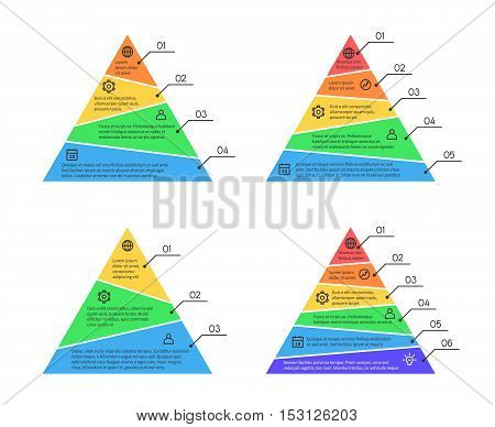 Pyramid, layers chart infographic vector elements with different numbers of levels. Business layer for presentation, diagram information illustration