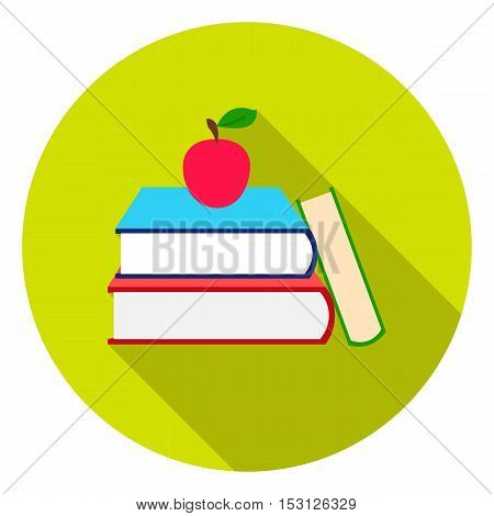 Books icon in flat style isolated on white background. School symbol vector illustration.