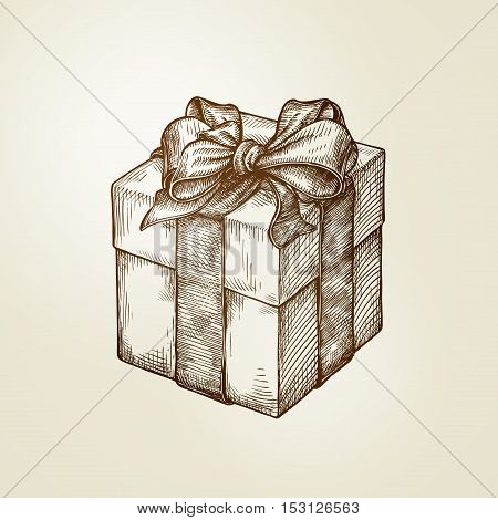 Gift. Box with bow. Vintage sketch vector illustration