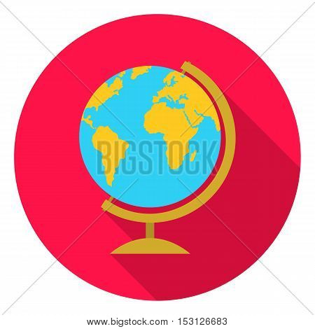 Globe icon in flat style isolated on white background. School symbol vector illustration.