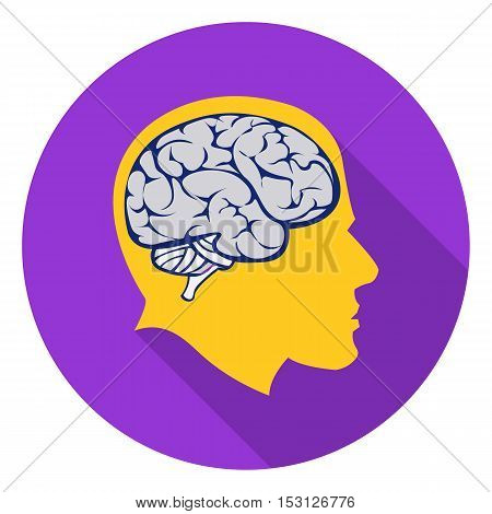 Brain icon in flat style isolated on white background. School symbol vector illustration.