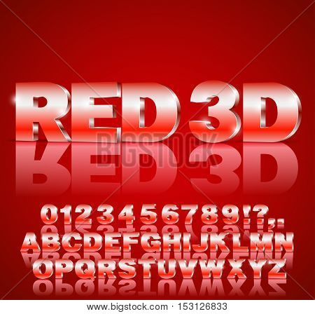 3D alphabet vector Red colored font with alphabet letters and numbers