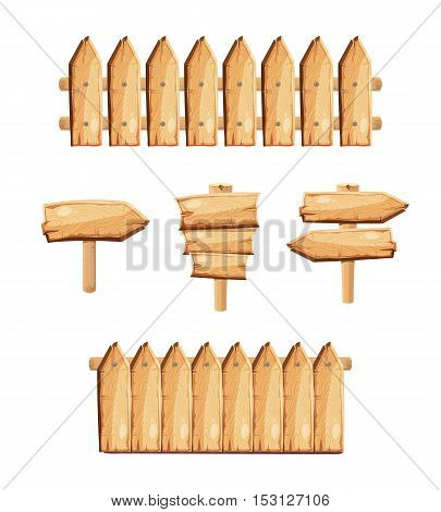 Wood garden fences and wooden signs stock vector. Fence made of boards and pointer illustration