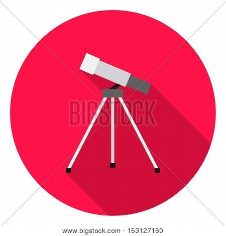 Telescope icon in flat style isolated on white background. School symbol vector illustration.