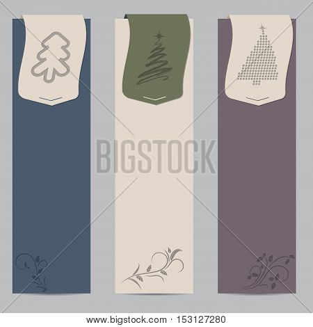 Flat style christmas shopping label designs with floral elements and christmas tree ribbons