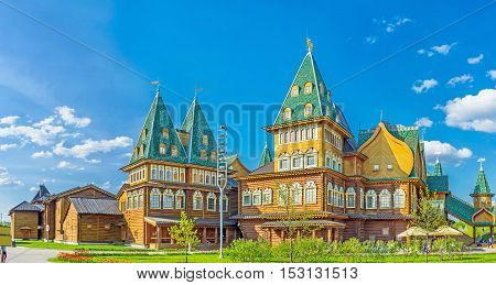 The architectural ensemble of the renovated wooden Grand Palace of Tsar Alexei Mikhailovich one of the most impressive landmarks of Kolomenskoye Manor Moscow Russia.
