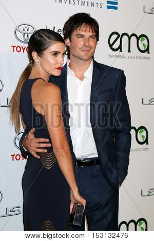 LOS ANGELES - OCT 22:  Nikki Reed, Ian Somerhalder at the 26th Annual Environmental Media Awards at Warner Brothers Studio on October 22, 2016 in Burbank, CA