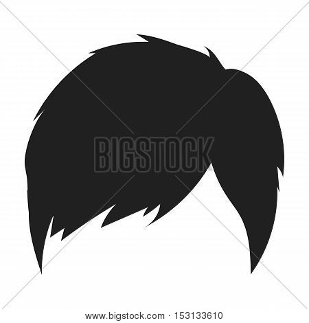 Man's hairstyle icon in black style isolated on white background. Hair symbol vector illustration.