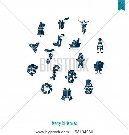 Christmas and Winter Icons Collection. Long Shadow. Simple and Minimalistic Style. Vector
