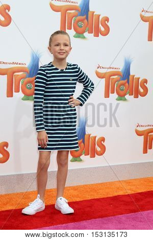 LOS ANGELES - OCT 23:  Giselle Eisenberg at the Trolls Premiere at Village Theater on October 23, 2016 in Westwood, CA