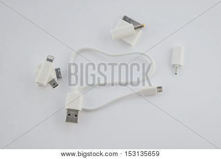 Electronic connectivity equipments. Multimedia data cable with different plugs. Mobile and computer acces tools.