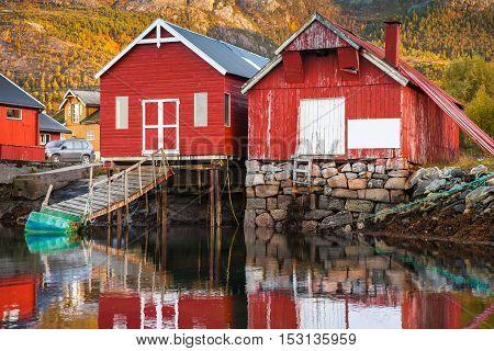 Norwegian Red Wooden Fishing Barns