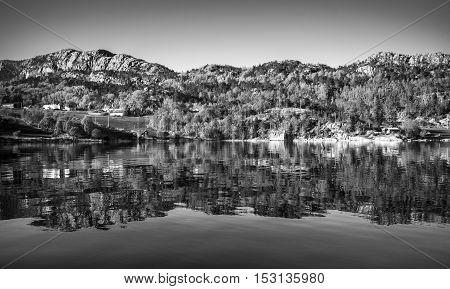 Black And White Norwegian Landscape