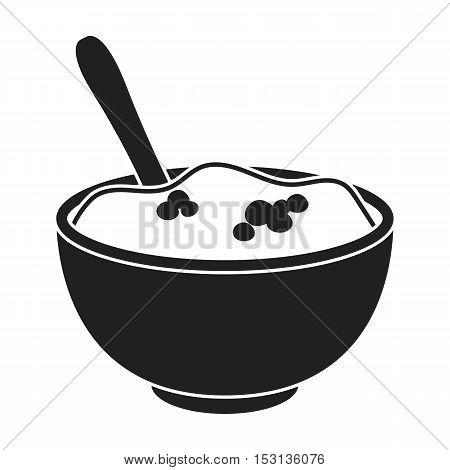Mashed potatoes icon in black style isolated on white background. Canadian Thanksgiving Day symbol vector illustration.