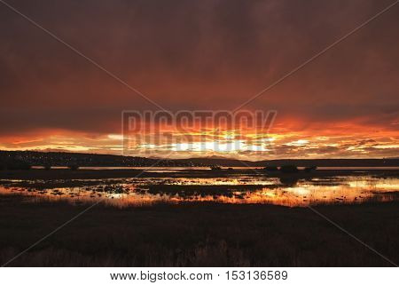 Patagonian sunset over El Calafate city, Argentina