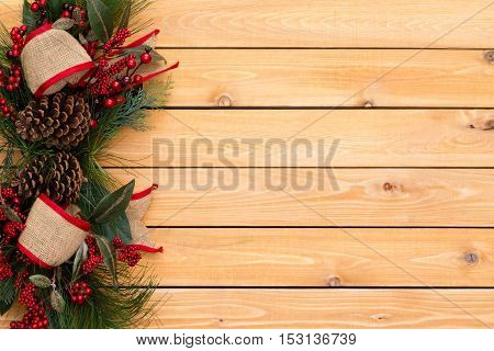 Rustic Festive Christmas Border With Burlap Bows