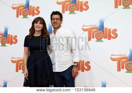 LOS ANGELES - OCT 23:  Zooey Deschanel, Jacob Pechenik at the Trolls Premiere at Village Theater on October 23, 2016 in Westwood, CA