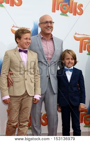 LOS ANGELES - OCT 23:  Mike Mitchell, sons at the Trolls Premiere at Village Theater on October 23, 2016 in Westwood, CA