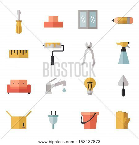Home repair and construction multicolored flat icons set. Modern minimal design. Part one.