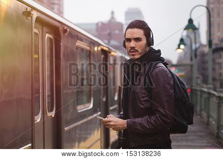 Young man with a urban look in New York city.