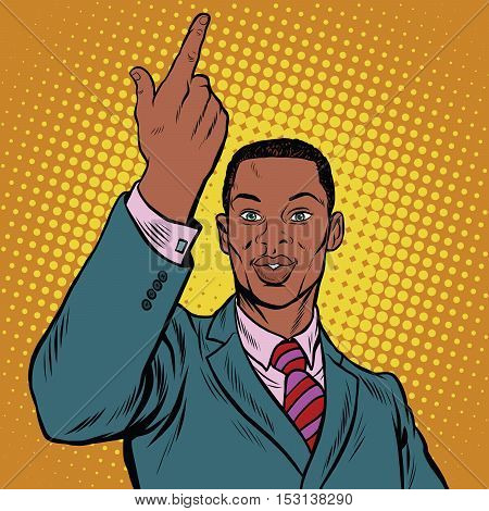 African American businessman pointing finger up, pop art retro illustration