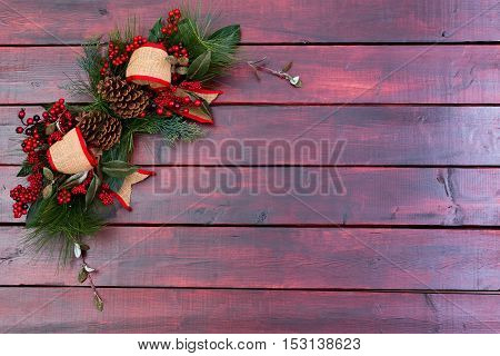 Rustic Christmas Background On Mahogany