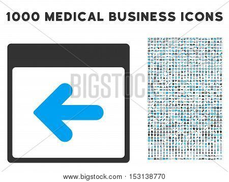 Blue And Gray Previous Calendar Day glyph icon with 1000 medical business pictograms. Set style is flat bicolor symbols, blue and gray colors, white background.
