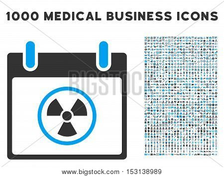 Blue And Gray Radioactive Calendar Day glyph icon with 1000 medical business pictograms. Set style is flat bicolor symbols, blue and gray colors, white background.