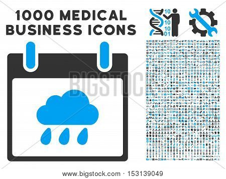 Blue And Gray Rain Cloud Calendar Day glyph icon with 1000 medical business pictograms. Set style is flat bicolor symbols, blue and gray colors, white background.