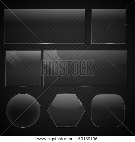 set of transparent glass on sample background. Glass square, rectangular and round buttons on checkered background. Vector illustration.