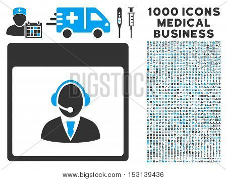 Blue And Gray Reception Operator Calendar Page glyph icon with 1000 medical business pictograms. Set style is flat bicolor symbols, blue and gray colors, white background.
