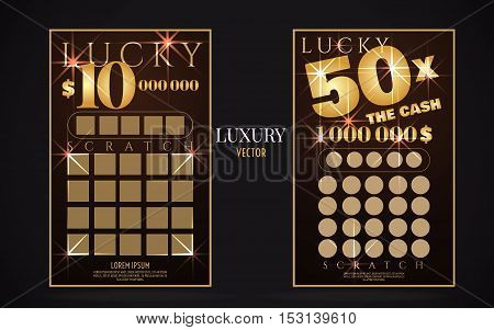 scratch lottery card luxury ticket. Vector color design template