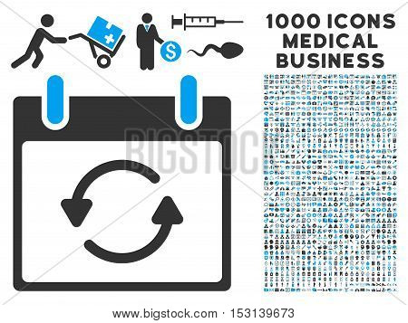 Blue And Gray Refresh Calendar Day glyph icon with 1000 medical business pictograms. Set style is flat bicolor symbols, blue and gray colors, white background.