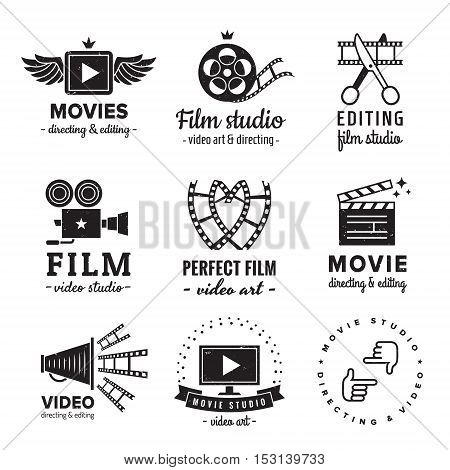 Film movie and video logo vintage vector set. Hipster and retro style. Perfect for your business design.