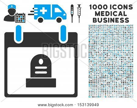 Blue And Gray Rip Monument Calendar Day glyph icon with 1000 medical business pictograms. Set style is flat bicolor symbols, blue and gray colors, white background.