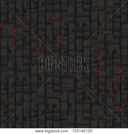 Night city on top view with red dots. Usual elements like roads buildings parking and other flat objects. Night in a capital 3D city with many skycrapers. 3D model of city. 3D illustration. Top view.