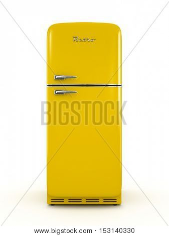 Retro fridge isolated on white background 3D rendering