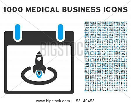 Blue And Gray Rocket Start Calendar Page glyph icon with 1000 medical business pictograms. Set style is flat bicolor symbols, blue and gray colors, white background.