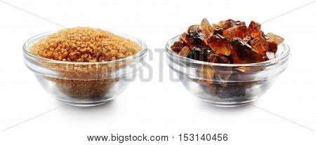 Brown Cane Sugar And Caramelized Sugar In Glass Bowls