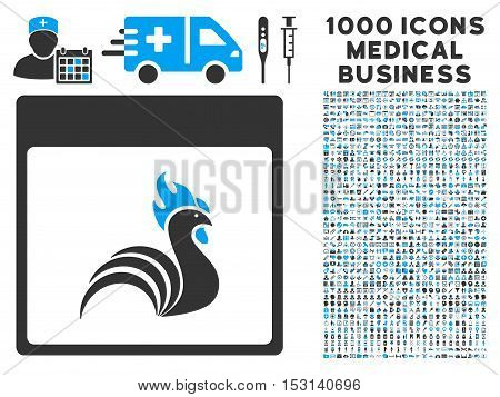 Blue And Gray Rooster Calendar Page glyph icon with 1000 medical business pictograms. Set style is flat bicolor symbols, blue and gray colors, white background.