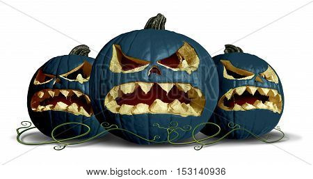 Goth pumpkin Halloween as black squash group with three pumpkins on a white background as a concept and symbol for a creepy advertisement and marketing announcement for a harvest time party with 3D illustration elements.