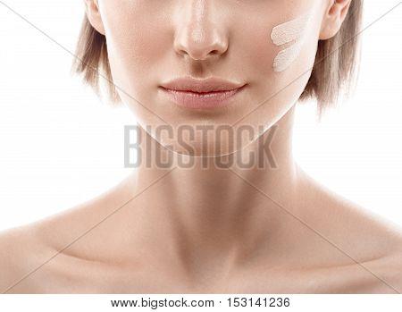 Skin Tone Cream Lines On Woman Lips, Nose, Shoulders. Beautiful Woman Portrait Beauty Skin Healthy A