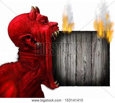 Devil head sign with burning rusticwood Devil scream character as a red demon or monster screaming with fangs and teeth with in an open mouth as a side view horror face isolated on a white background with 3D illustration elements.
