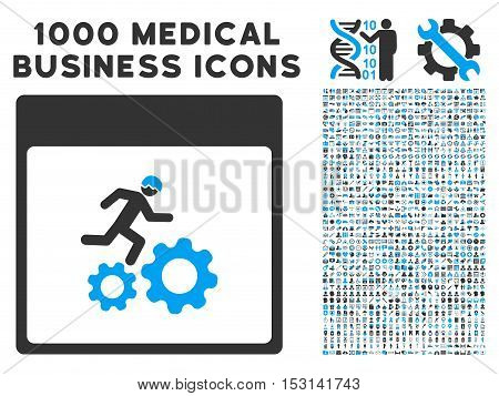 Blue And Gray Running Worker Calendar Page glyph icon with 1000 medical business pictograms. Set style is flat bicolor symbols, blue and gray colors, white background.