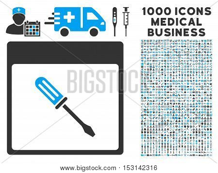 Blue And Gray Screwdriver Calendar Page glyph icon with 1000 medical business pictograms. Set style is flat bicolor symbols, blue and gray colors, white background.