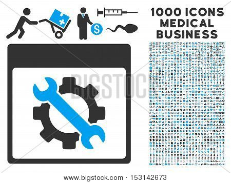 Blue And Gray Settings Tools Calendar Page glyph icon with 1000 medical business pictograms. Set style is flat bicolor symbols, blue and gray colors, white background.