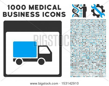 Blue And Gray Shipment Truck Calendar Page glyph icon with 1000 medical business pictograms. Set style is flat bicolor symbols, blue and gray colors, white background.