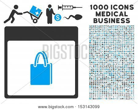 Blue And Gray Shopping Bag Calendar Page glyph icon with 1000 medical business pictograms. Set style is flat bicolor symbols, blue and gray colors, white background.