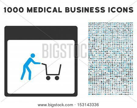 Blue And Gray Shopping Cart Calendar Page glyph icon with 1000 medical business pictograms. Set style is flat bicolor symbols, blue and gray colors, white background.