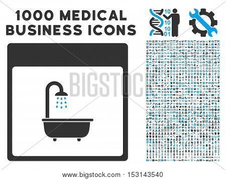Blue And Gray Shower Bath Calendar Page glyph icon with 1000 medical business pictograms. Set style is flat bicolor symbols, blue and gray colors, white background.
